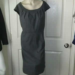 Gray Plead Cap-Sleeve Dress